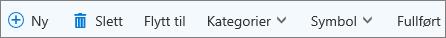 Oppgavekommandolinjen for Outlook.com
