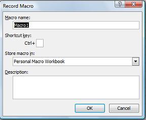 Dialogboksen Registrer makro