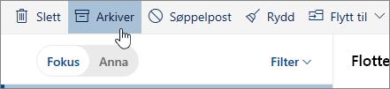Et skjermbilde av Arkiv-knappen