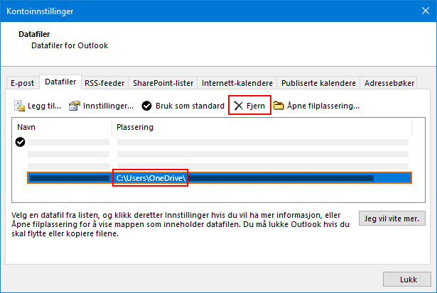 Dialog boksen data filer for Outlook