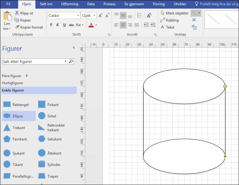 Tegne linjer manuelt for å fullføre figuren.