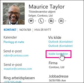 Knappen Koble kontakter i kontaktkort