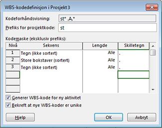 Bilde av dialogboksen for definering av WBS-kode