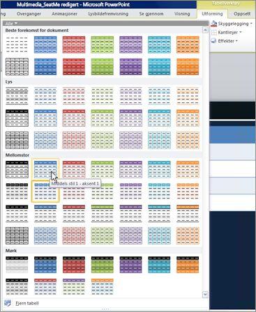 Miniatyrbilder av tabellstiler