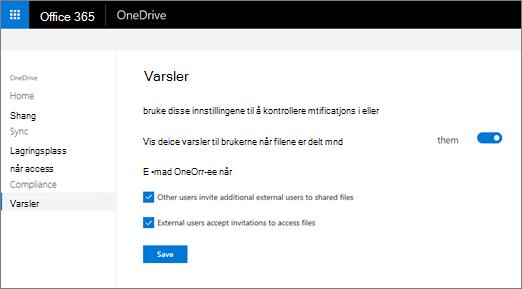 Kategorien varsler i administrasjonssenteret i OneDrive