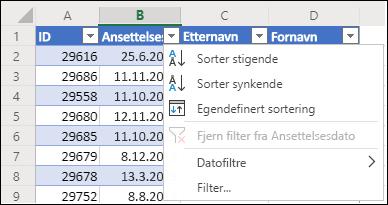 Bruke tabellfilteret i Excel til å sortere i stigende eller synkende rekkefølge