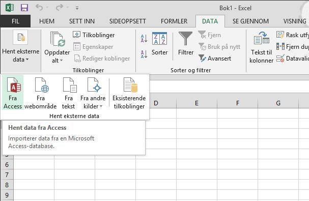 Importere data fra Access med et lite bånd