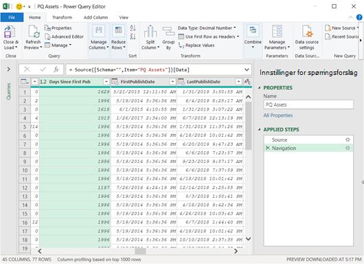 Power Query-redigering som viser lastede data