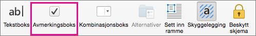Klikk Avmerkingsboks for å sette inn en avmerkingsboks som du kan merke av i Word.