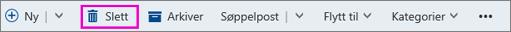 Slett-knappen på båndet i Outlook