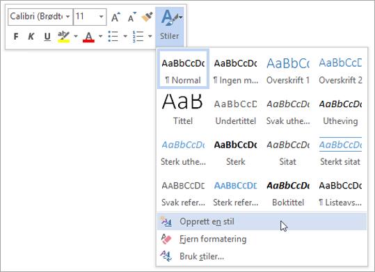 Opprette en ny stil basert på formatering