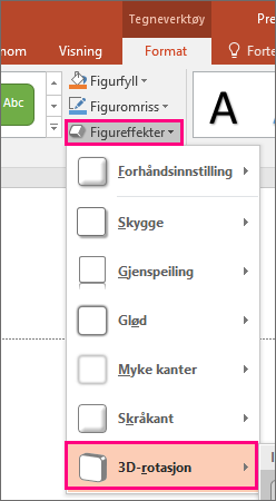 Viser 3D-rotasjonsalternativet i Figureffekter-menyen i PowerPoint 2016.