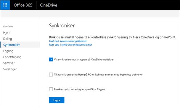 Synkronisering-fanen på administrasjonssenteret for OneDrive.