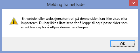Feilmelding som vises når skripting er deaktivert på et nettsted eller i en nettstedssamling