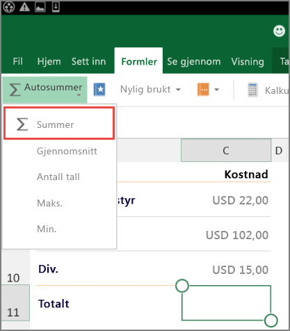 Tilgangsmenyen på båndet i Excel for Android