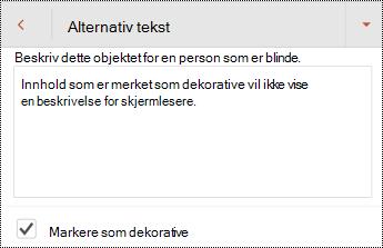 Marker som dekorativ valgt i dialog boksen alternativ tekst i PowerPoint for Android.