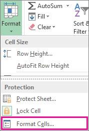 På startsidefanen, Formater-knapp og Formater celler-knapp på menyen