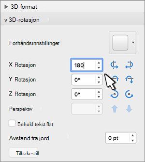 3D-rotasjon-delen med X-rotasjon valgt