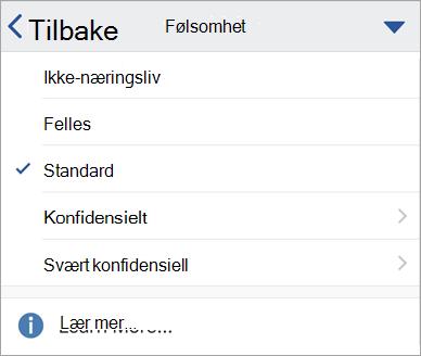 Skjerm bilde av følsomme etiketter i Office for iOS