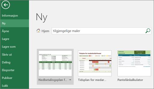 Skjermbilde av Excel-brukergrensesnitt som viser en søkeboks med søkeord for tilgjengelige maler, og søkeresultater for tilgjengelige maler.
