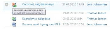 Verktøytips som vises under ikonet for utsjekket fil. Den viser filnavnet og hvem som har sjekket ut filen.