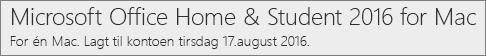 Slik ser Mac-versjonen av Office 2016 ut på Office.com/myaccount