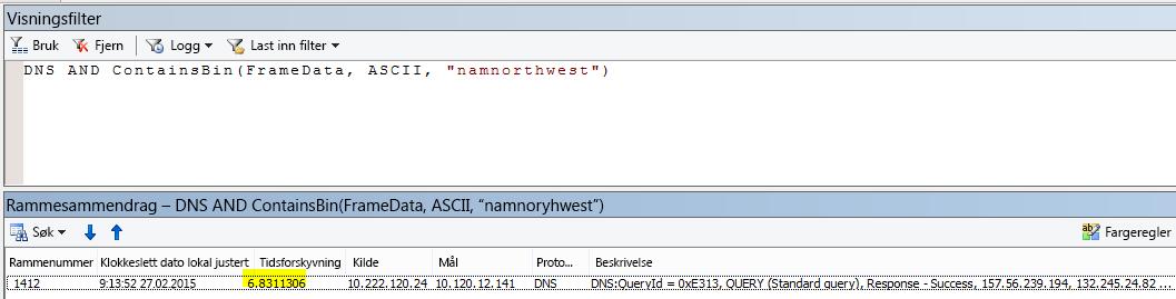 """Flere Netmon-resultater filtrert med DNS OG CONTAINSBIN(Framedata, ASCII, """"namnorthwest"""") som viser svært lav tidsforskyvning mellom forespørsel og svar."""