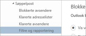 Et skjermbilde av filtre og rapportering på Alternativer-menyen