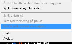 Skjermbilde av kommandoen Stopp synkronisering av mappe når du høyreklikker synkroniseringsklienten for OneDrive for Business