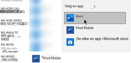Bytte fra Word Mobile til Word for protokollen som åpner maler fra nettet.