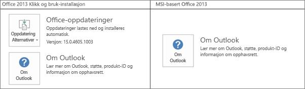 Grafikk som viser hvordan du finner ut om Office 2013-installasjonen er Klikk og bruk- eller MSI-basert