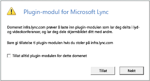 Lync Web Access – klarer alltid domenet for plugin-modulen, eller tillat for bare denne økten