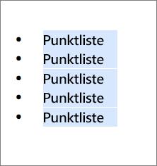 Eksempel på punktliste med runde, svarte sirkler som punkttegn.