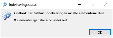 Indekserings status for søk i Outlook