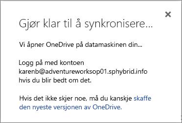 Skjermbilde av Gjør klar til synkronisering-dialogboksen når du konfigurerer synkronisering for OneDrive for Business