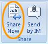 Sende eller dele fra kategorien Se gjennom i Office