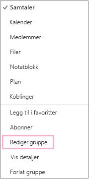 Kontekstmenyen eller snarveimenyen for kalendergruppe med Rediger gruppe uthevet. Menyen vises når Flere handlinger er valgt på den individuelle gruppemenylinjen.
