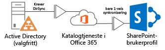 Diagram som viser hvordan lokal Active Directory bruker DirSync til å sende profilinformasjon til Office 365-katalogtjenesten, som igjen sender til SharePoint Online-profilen
