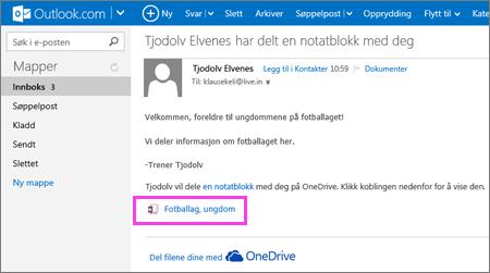 E-postmelding med delt notatblokk