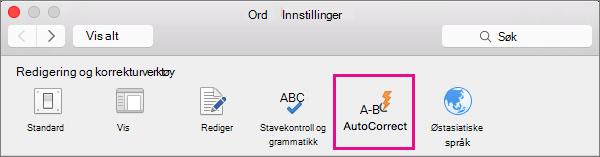 Klikk Autokorrektur i Word Innstillinger for å endre hva Autokorrektur endrer i dokumentet.