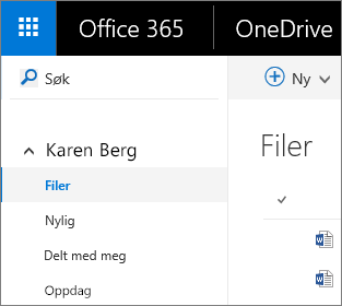 Skjermbilde av filvisningen i OneDrive for Business