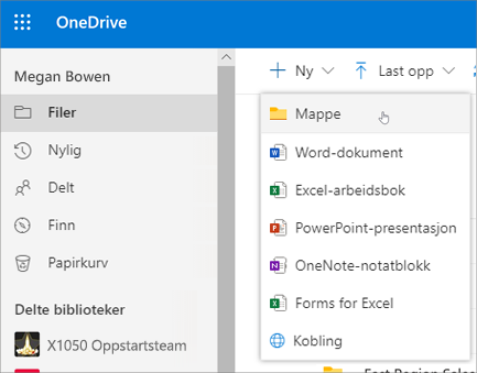 Opprett mappe i OneDrive