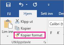Viser knappen Kopier format på Hjem-fanen i Word