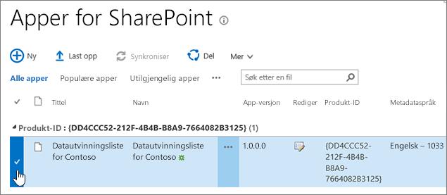 Appkatalogen Apper for SharePoint med appen valgt