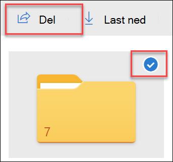 Bilde av en mappe i OneDrive og del-alternativet.