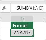 Excel viser feilmeldingen #NAVN? på skjermen når et funksjonsnavn inneholder skrivefeil