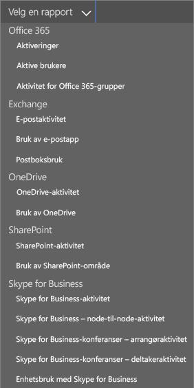 Velge tilgjengelige rapporter for Office 365