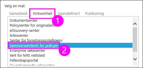 Samling områdemaler i Enterprise-kategorien