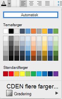 Meny for skrift farge utvalg for Word for Mac