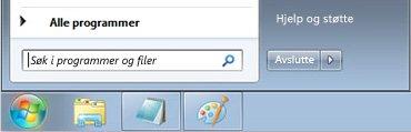 Start-menyen i Windows 7 med søkeboksen